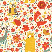stock photo of grass bird  - Cute seamless pattern with forest animals - JPG