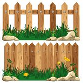 stock photo of wooden fence  - Wooden fence and grass - JPG