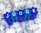 stock photo of crime solving  - Blue 3D pieces of puzzle and word JUDGE - JPG