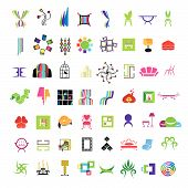 stock photo of throne  - collection of vector icons of furniture and interior - JPG