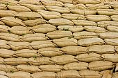 foto of sandbag  - A Pile or Wall of Sandbags - JPG