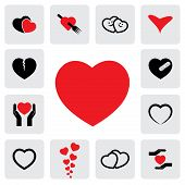 picture of romantic love  - abstract heart icons - JPG
