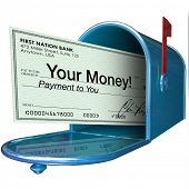 stock photo of check  - A check with the words Your Money arrives in your mailbox as payment - JPG