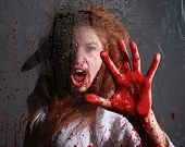 stock photo of bloody  - Woman in Horror Situation With Bloody Face - JPG