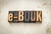 e-book  word in vintage letterpress wood type on a grunge painted barn wood background