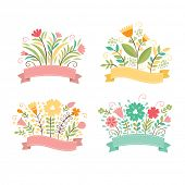 Set of floral bouquets , romantic composition, vector collection
