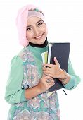 Happy Muslim Student Portrait Holding A Few Books