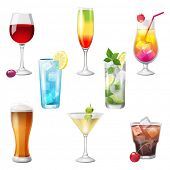 stock photo of mojito  - 8 highly detailed cocktails icons - JPG