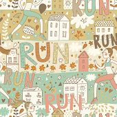 Running concept seamless pattern. Girl is running near houses. Seamless pattern can be used for wall