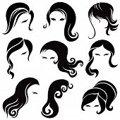 Vector set of black hair styling for woman