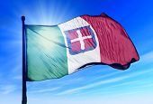 stock photo of mussolini  - Kingdom of Italy flag waving on the wind - JPG