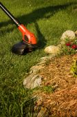 stock photo of trimmers  - Close up of a grass trimmer in a rock garden - JPG
