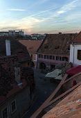 stock photo of sibiu  - European medieval street of Sibiu in Romania - JPG