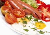 Breakfast With Fried Eggs And Sausages