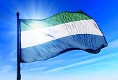 picture of freetown  - Sierra Leone flag waving on the wind - JPG