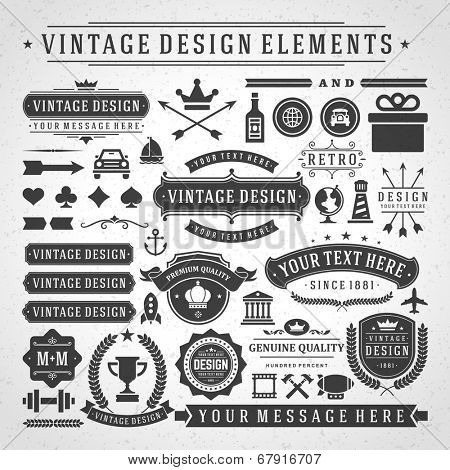 Vintage Vector Design Elements Retro Style Golden Typographic Labels Tags Badges Stamps Arrows And Emblems Set Poster ID 67916707