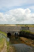 pic of marshlands  - A river flows from marshland through a pair of tunnels under a stone bridge - JPG