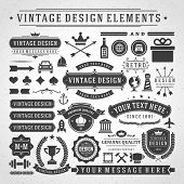 Vintage vector design elements. Retro style golden typographic labels,  tags, badges, stamps, arrows and emblems set.  poster