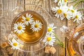 pic of black tea  - Herbal chamomile tea in a glass cup and flowers - JPG