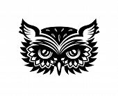 stock photo of owl eyes  - Black and white wise old horned owl head with big eyes and feather for mascot or tattoo design - JPG