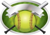 foto of softball  - An illustration of a softball and bats on a emblem background - JPG