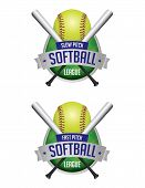 pic of softball  - An illustration of softball league emblems and badges - JPG