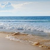 foto of sea-scape  - sea scape sand beach and blue sky - JPG