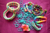 foto of loom  - Loom bands and loom band bracelets in various designs and colors - JPG