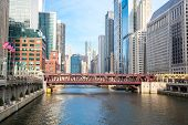 image of willy  - City of Chicago downtown and River with bridges - JPG