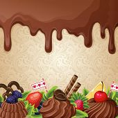 stock photo of milk  - Sweets dessert background with milk chocolate syrup cream and ornament vector illustration - JPG