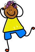 image of lice  - Happy cartoon drawing of an ethnic boy scratching his head louse hair - JPG