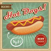 stock photo of wiener dog  - Drawing hot dog delicious fast food best choice poster template vector illustration - JPG