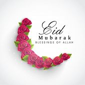 image of eid festival celebration  - Beautiful red roses and green leaves decorated crescent moon on grey background for Muslim community festival Eid Mubarak celebrations - JPG