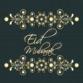 image of eid card  - Shiny floral decorated Eid Mubarak celebrations greeting card design - JPG