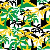 stock photo of rastaman  - Palm trees in Jamaica colors - JPG