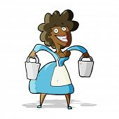 image of milkmaid  - cartoon milkmaid carrying buckets - JPG
