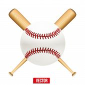 pic of baseball bat  - Vector illustration of baseball leather ball and wooden bats - JPG