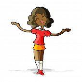 stock photo of praises  - cartoon woman taking praise - JPG