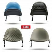 picture of army  - Set of Military helmets Vector Illustration - JPG