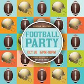 Постер, плакат: Football Pattern Party Invitation