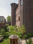 stock photo of turin  - Medieval garden at Palazzo Madama in Turin - JPG