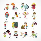 image of retort  - Decorative reading learning singing and playing football school children with backpack doodle sketch vector illustration - JPG