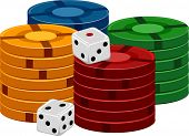 image of crap  - Illustration of a Pair of Dice Sitting Side by Side With Stacks of Poker Chips - JPG