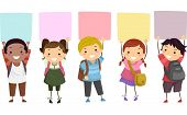 stock photo of stickman  - Illustration of Kids Holding Colorful Boards  Above Their Heads - JPG
