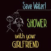 pic of save water  - Funny illustration with message - JPG