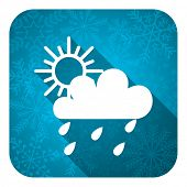 rain flat icon, christmas button, waether forecast sign  poster