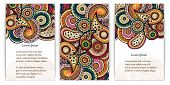 image of placard  - Set of posters with doodle paisley for your business - JPG
