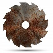stock photo of bloody  - Realistic bloody rust circular saw blade - JPG