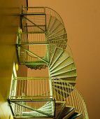 image of spiral staircase  - Spiral staircase against the winter night sky - JPG