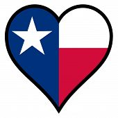stock photo of texas state flag  - The flag of the state of Texas within a heart all over a white background - JPG